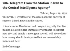 Documents shedding light on US interference in Iranian coup of '53 released by State Dept
