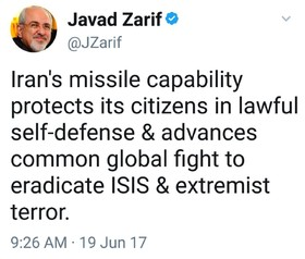 Iran's missile capability protects its citizens: Zarif