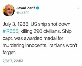 Zarif: Iranians won't forget IR655 downing by US