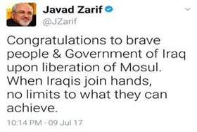 Zarif congratulates liberation of Mosul