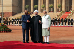Rouhani officially welcomed by Indian counterpart, PM