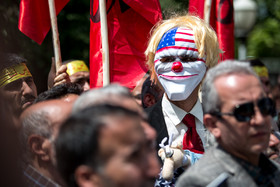 People of Tehran including university students staged a protest against the opening of US Embassy in Jerusalem on Wednesday May 16 outside the former US Embassy in Tehran.