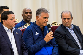Iran national football team head coach Carlos Queiroz delivered a speech during the meeting. The members of Iran national football team and coaching staff met with the Iranian President Hassan Rouhani on Sunday May 20 in Tehran.