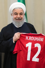 The number 12 Iran's football kit was presented to Hassan Rouhani during the ceremony. The members of Iran national football team and coaching staff met with the Iranian President Hassan Rouhani on Sunday May 20 in Tehran.