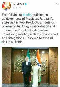 Zarif's tweet on his visit to India