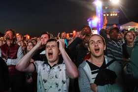 Football fans watched the semi-final game between Croatia and England at the FIFA Fan Fest in Moscow. Croatia reached the final of the World Cup for the first time in history.