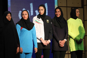 (from right to left) The Iranian wushu champion Shahrbanou Mansourian, the Iranian karateka Hamideh Abbasali and the Iranian Taekwondo athlete Kimia Alizadeh / The 2018 Asian Games is about to start and because of that a ceremony was held on Tuesday July 31 for Iran's Sports Delegation that is going to take part in this tournament.