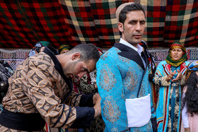 Groom before going to bride's house / Although modern life has impacted on traditional customs especially on weddings, there are some families in Lorestan province who follow these customs.