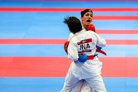 The Iranian Karate competitor Rozita Alipour won the silver medal of Female Kumite -61 kg.