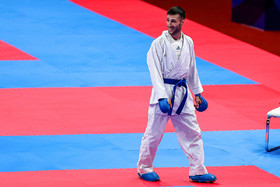 The Iranian Karate competitor Amir Mehdizadeh won the silver medal of Male Kumite -60 kg.