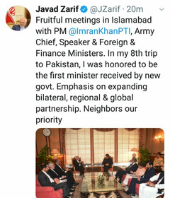 Zarif's report on his two-days visit to Pakistan