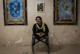 Mohammad Jafari, 42, has a BA in education sciences from Ferdowsi University of Mashhad. He is a painter and is in charge of Art House of Afghanistan in Mashhad. He was also the director of UN's social projects for disabled people.