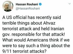 Rouhani's reaction to US official reckless claim about Ahvaz terror attack
