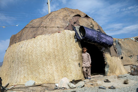 These huts are made by materials which are used in this region for construction. Nomads usually live in this kind of huts.