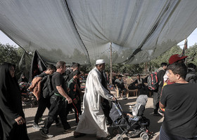 Some of the pilgrims attend the Arba'een March with all their family members.