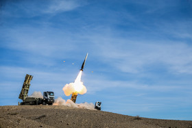 Talash missile system, unveiled on Monday, fired three missiles which hit the targets successfully. The missile system is one of the newest systems designed by Khatam al-Anbia Air Defense Base which can hit the targets in medium and long ranges.