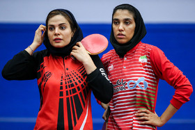 The Iranian table tennis players Mahshid Ashtari (R) and Neda Shahsavari / The Iran women's national table tennis team are readying for a table tennis competition which is going to be held in Finland.