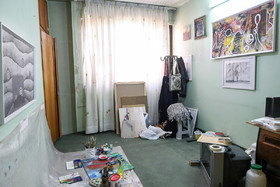 The room of Sheyda Shokravi, a professional painter who was born with no arms, is seen in the photo, December 3, 2018.
