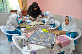 Four girls learn how to do Sermeh embroidery, the Rehabilitation Centre of Ali Akbar, Birjand City, December 3, 2018.