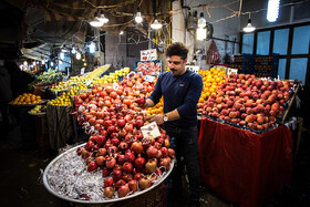 Iranians buy fruits such as pomegranate and water melon to celebrate Yalda Night, Iran, Qazvin, December 20, 2018.