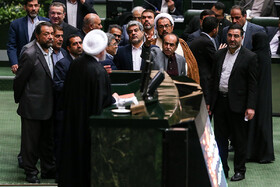On the sidelines of Iran's Parliament as Mr Rouhani delivers a speech, Iran, Tehran, December 25, 2018.