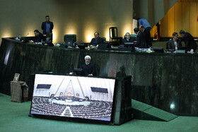 Iranian President Hassan Rouhani delivers a speech in parliament, Iran, Tehran, December 25, 2018.