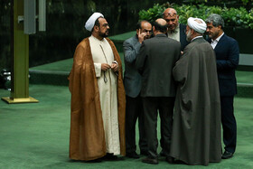 On the sidelines of Iran's Parliament as Mr Rouhani wants to deliver a speech, Iran, Tehran, December 25, 2018.