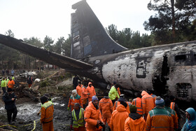 A Boeing 707 cargo plane crashes at Fath Airport, Iran, Alborz, January 14, 2019.