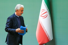 Iranian Minister of Science, Research and Technology Mansour Gholami wants to deliver a speech during the closing ceremony of the 10th Farabi International Award, Iran, Tehran, January 27, 2019.