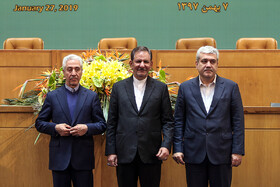 Iranian Minister of Science, Research and Technology Mansour Gholami (L), Iranian First Vice President Es'haq Jahangiri (M) and Iranian Vice President for Science and Technology Sorena Sattari are present in the closing ceremony of the 10th Farabi International Award, Iran, Tehran, January 27, 2019.