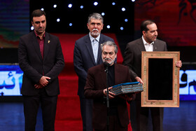 Iranian musician Majid Entezami delivers a speech during the opening ceremony of the 37th Fajr Film Festival, Iran, Tehran, January 29.