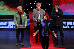 Iranian actress Fatemeh Motamed Aria is honoured during the opening ceremony of the 37th Fajr Film Festival, Iran, Tehran, January 29.