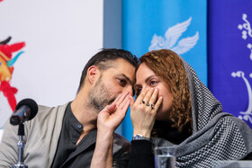Iranian actor Peyman Moaadi and Iranian actress Mahnaz Afshar are present on the third day of the 37th Fajr Film Festival, February 1, 2019.