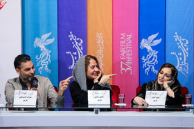 Iranian actor Peyman Moaadi, Iranian actresses Mahnaz Afshar (M) and Shaghayegh Dehghan are present on the third day of the 37th Fajr Film Festival, February 1, 2019.