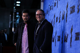 """Reza Mirkarimi (R), the director of """"Qasr-e Shirin"""" and Iranian actor Hamed Behdad are present on the third day of the 37th Fajr Film Festival, February 1, 2019."""