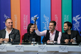 (from right to left) Iranian actors Mehrdad Seddighian, Pezhman Bazeghi and Hamid Farrokh-Nezhad and Iranian actress Sareh Bayat are present on the third day of the 37th Fajr Film Festival, February 1, 2019.
