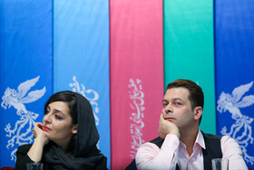 Iranian actor Pezhman Bazeghi and Iranian actress Sareh Bayat are present on the third day of the 37th Fajr Film Festival, February 1, 2019.