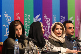 (from right to left) Iranian actor Hamed Komeili and Iranian actresses Setareh Pesyani, Pantea Panahiha and Sara Bahrami are present on the sixth day of the 37th Fajr Film Festival, February 4, 2019.