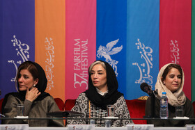 (from right to left) Iranian actresses Setareh Pesyani, Pantea Panahiha and Sara Bahrami are present on the sixth day of the 37th Fajr Film Festival, February 4, 2019.