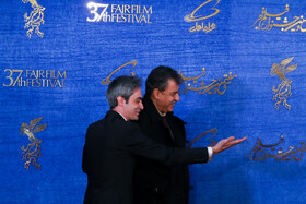The director of 'A Man without Shadow' Alireza Raeesiyan (R) is present on the sixth day of the 37th Fajr Film Festival, February 4, 2019.