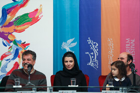 Iranian actor Ali Mosaffa (R), Iranian actress Leila Hatami and the director of 'A Man without Shadow' Alireza Raeesiyan are present on the sixth day of the 37th Fajr Film Festival, February 4, 2019.