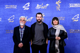 """Iranian actress Linda Kiani and Iranian actor Hossein Pakdel are present on the 7th day of the Fajr Film Festival, Iran, Tehran, February 5. They are the members of the casts of """"Watching This Movie is a Crime""""."""