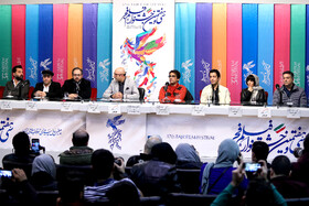 "The film crew of ""Watching This Movie is a Crime"" are present in the press conference of the Fajr Film Festival, Iran, Tehran, February 5."