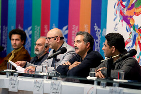 "The director of ""The 23 People"" Mahdi Ja'afari (second from right) is present in the press conference of the Fajr Film Festival, Iran, Tehran, February 5."
