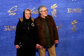 """Iranian actor Shahrokh Foroutanian and Iranian actress Afsaneh Chehreh Azad are present on the 7th day of the Fajr Film Festival, Iran, Tehran, February 5. They are the members of the casts of """"Polo Coat""""."""