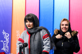 """Iranian actresses Linda Kiani (L) and Afsaneh Chehreh Azad are present in the press conference of the 7th day of the Fajr Film Festival, Iran, Tehran, February 5. They are the members of the casts of """"Polo Coat""""."""