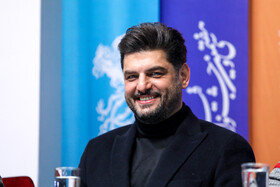"""Iranian actor Sam Derakhshani is present in the in the press conference of the Fajr Film Festival, Iran, Tehran, February 5. He is one of the members of the cast of """"Polo Coat""""."""