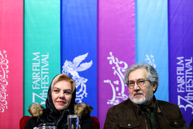 """Iranian actor Shahrokh Foroutanian and Iranian actress Afsaneh Chehreh Azad are present in the press conference of the 7th day of the Fajr Film Festival, Iran, Tehran, February 5. They are the members of the casts of """"Polo Coat""""."""