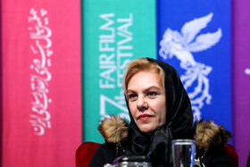 """Iranian actress Afsaneh Chehreh Azad is present on the 7th day of the Fajr Film Festival, Iran, Tehran, February 5. She is one of the members of the cast of """"Polo Coat""""."""