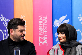 """Iranian actor Sam Derakhshani and Iranian actress Linda Kiani are present in the in the press conference of the Fajr Film Festival, Iran, Tehran, February 5. They are the members of the casts of """"Polo Coat""""."""